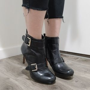 Nine West black leather heeled boots